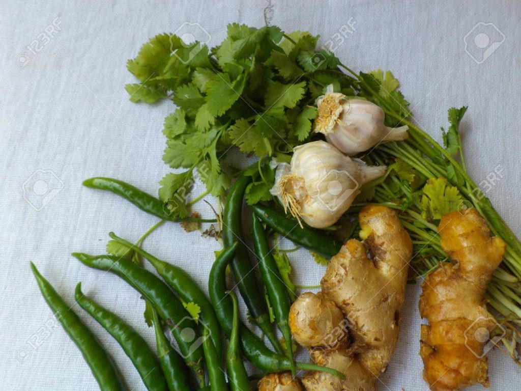 green-chillies-ginger-garlic-and-coriander-leaves